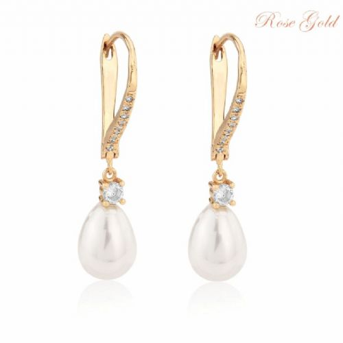 bc6d296f6 Rose gold crystal bridal earrings. £19.99. Vintage style pearl drop wedding  earrings .